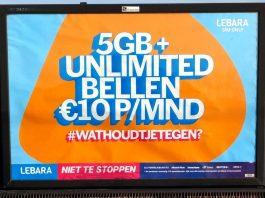 Lebara sim-only met onbeperkt bellen en 5 GB data voor € 10 per maand
